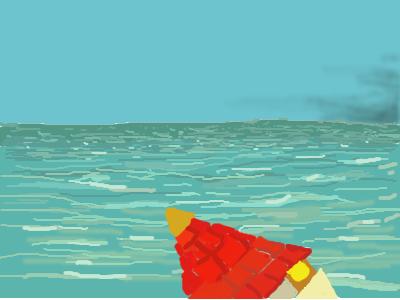 Une tour maçonnée flotte au milieu de l'océan
